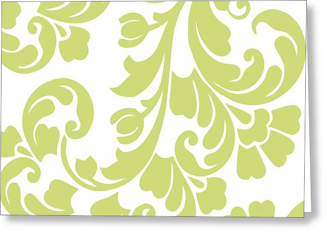 White And Green Greeting Cards - Calyx Chartreuse Damask Greeting Card by Mindy Sommers