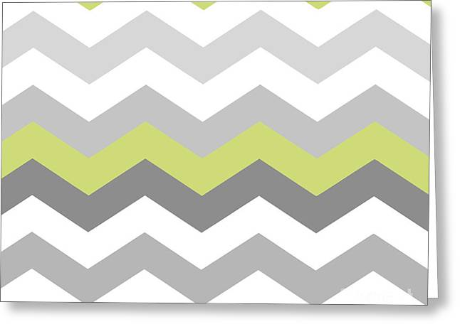 Chartreuse Greeting Cards - Calyx Chevron Pattern Greeting Card by Mindy Sommers