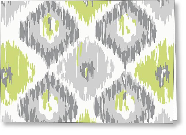 Chartreuse Greeting Cards - Calyx IKat Pattern Greeting Card by Mindy Sommers
