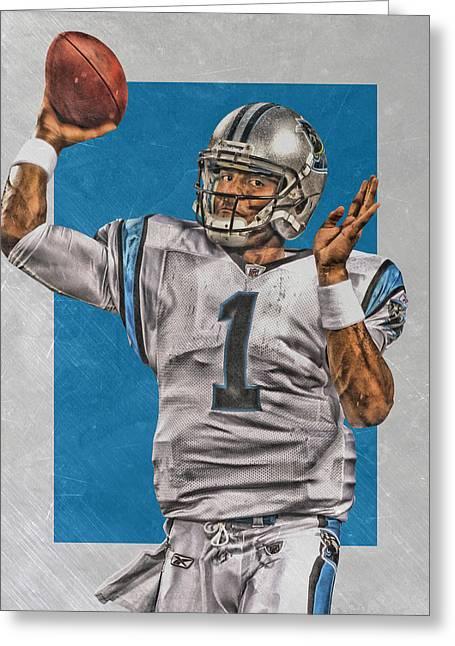 Cam Newton Carolina Panthers Art 2 Greeting Card by Joe Hamilton