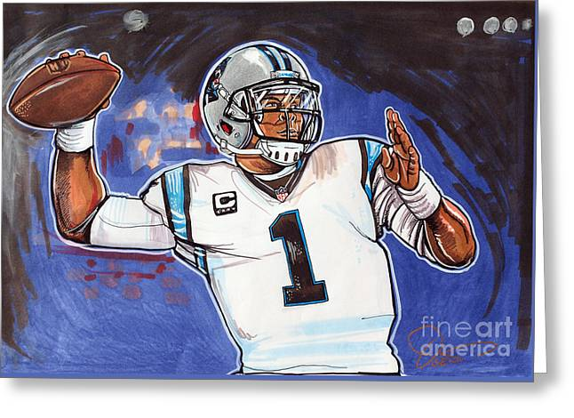 Championship Drawings Greeting Cards - Cam Newton Greeting Card by Dave Olsen