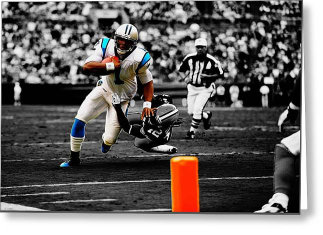 Cam Newton Eye On The Prize Greeting Card by Brian Reaves
