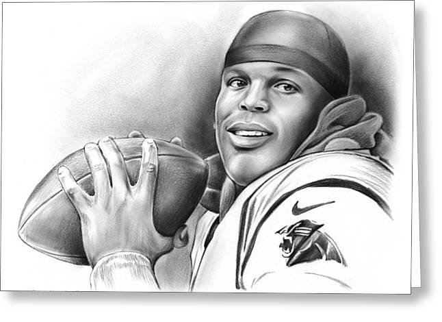 Cam Newton Greeting Card by Greg Joens