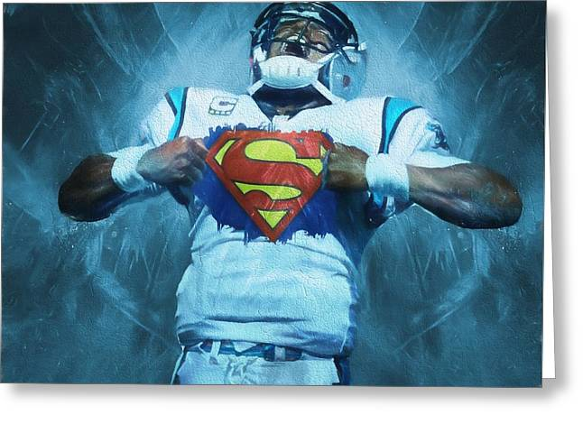 Cam Newton Superman Greeting Card by Dan Sproul