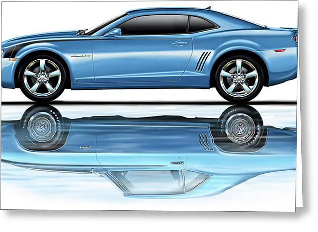 Camaro 2010 Reflects Old Blue Greeting Card by David Kyte