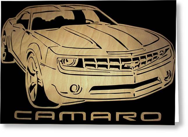 Camaro - Scrolled Greeting Card by Michael Bergman