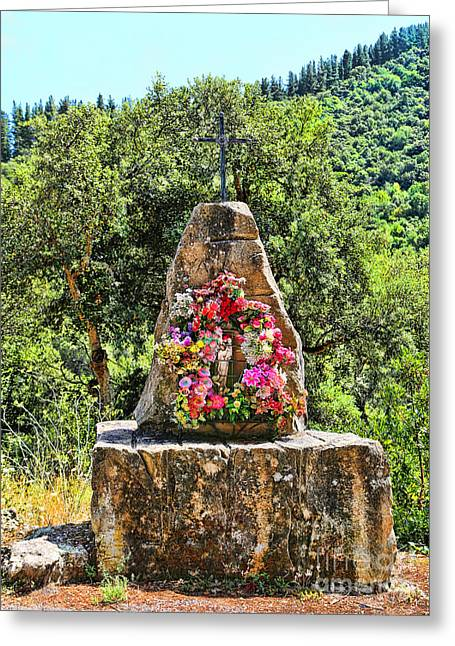Historic Village Cross Greeting Cards - Cambarco_155A7637 Greeting Card by Diana Sainz