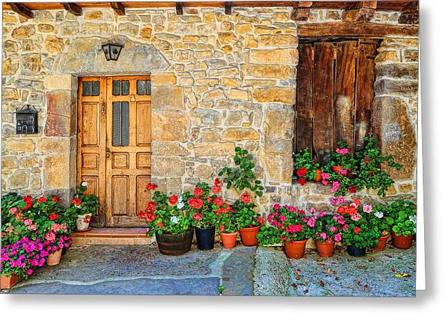 Historic Village Cross Greeting Cards - Cambarco_155A7646a Greeting Card by Diana Sainz