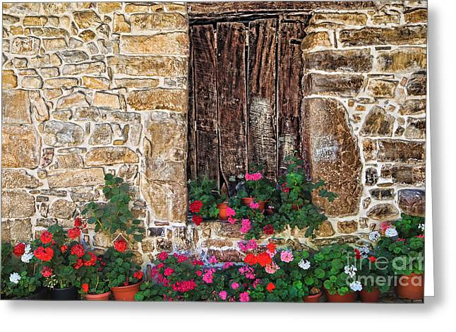 Historic Village Cross Greeting Cards - Cambarco_7648 Greeting Card by Diana Sainz