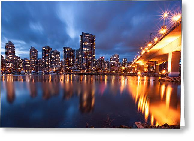 Cambie Bridge Greeting Cards - Cambie Bridge at Blue Hour Greeting Card by Alan W