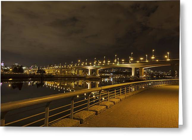 Cambie Bridge Greeting Cards - Cambie Bridge in Vancouver BC at Night Greeting Card by Jpldesigns