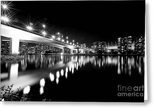 Cambie Bridge Greeting Cards - Cambie Street Bridge Monochrome Greeting Card by Terry Elniski