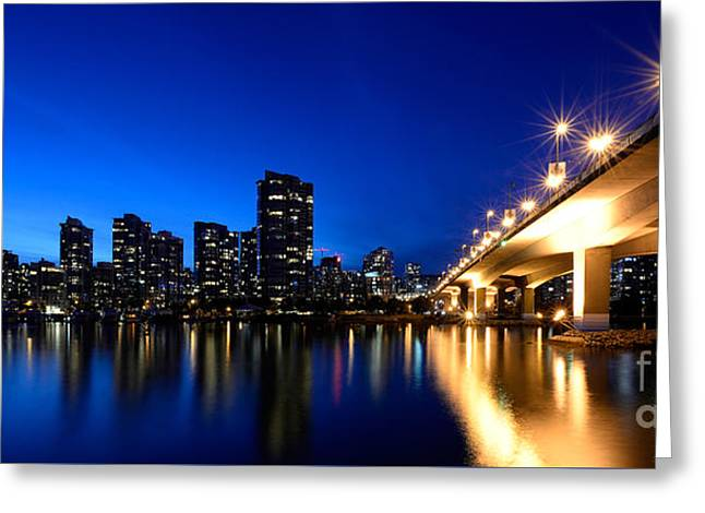 Cambie Bridge Greeting Cards - Cambie Street Bridge Over False Creek Greeting Card by Terry Elniski