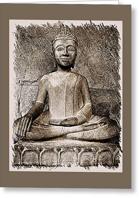 Cambodian Buddha - Sketch Greeting Card by Fini Gamundi