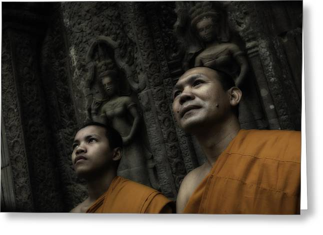 Monk-religious Occupation Greeting Cards - Cambodian Monks 3 Greeting Card by David Longstreath