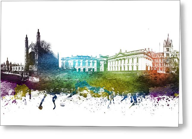 Skylines Drawings Greeting Cards - Cambridge cityscape 01 Greeting Card by Aged Pixel