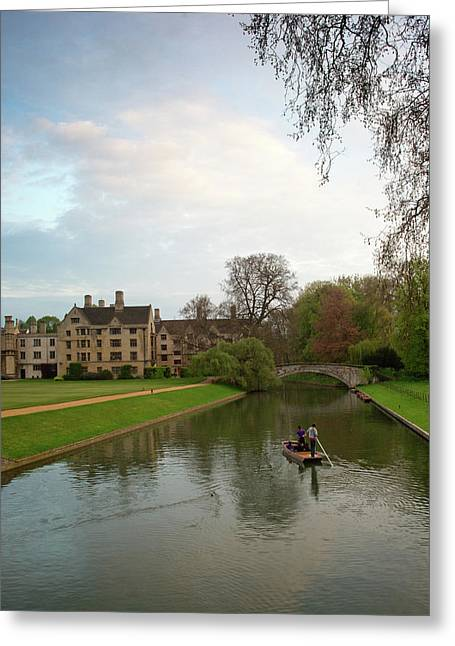 Warwick Greeting Cards - Cambridge Clare College Stream and Boat Greeting Card by Douglas Barnett