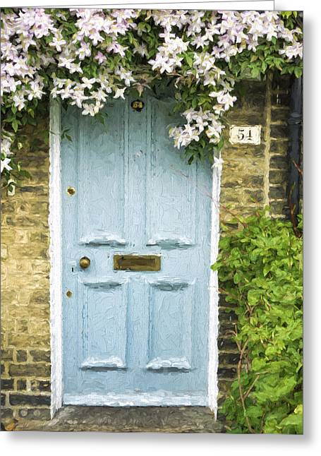 Cambridge Greeting Cards - Cambridge Doorway 54 Painterly Effect Greeting Card by Carol Leigh