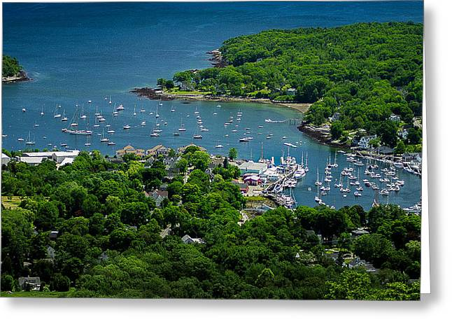 Coastal Maine Greeting Cards - Camden Harbor Maine from Mount Battie 2 Greeting Card by David Smith