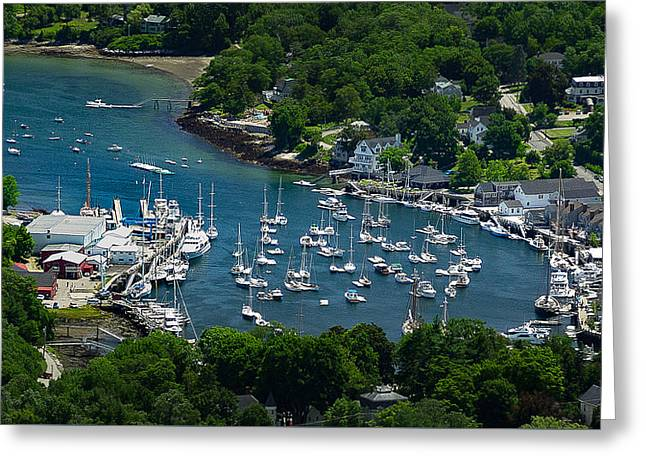 Coastal Maine Greeting Cards - Camden Harbor Maine from Mount Battie Greeting Card by David Smith