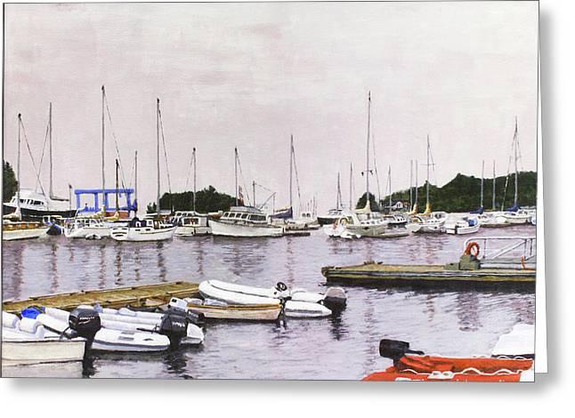 Camden Maine Marina Greeting Card by Thomas Michael Meddaugh
