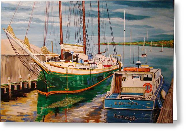 Docked Sailboats Greeting Cards - Camden Greeting Card by Yvonne Breen