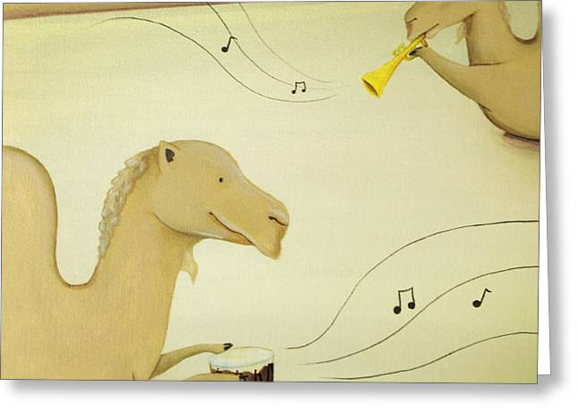 Camel Band Greeting Card by Lael Borduin