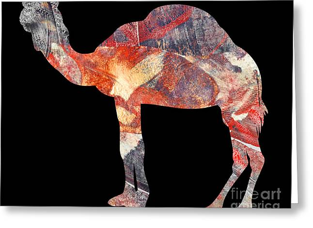 Printmaking Greeting Cards - Camel Greeting Card by Laura L Leatherwood
