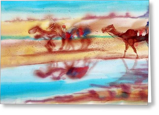 Vibrant Tapestries - Textiles Greeting Cards - Camel Run Greeting Card by Beena Samuel