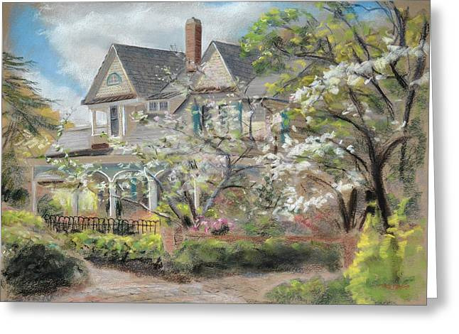 Plein Air Pastels Greeting Cards - Camellia Cottage Greeting Card by Christopher Reid