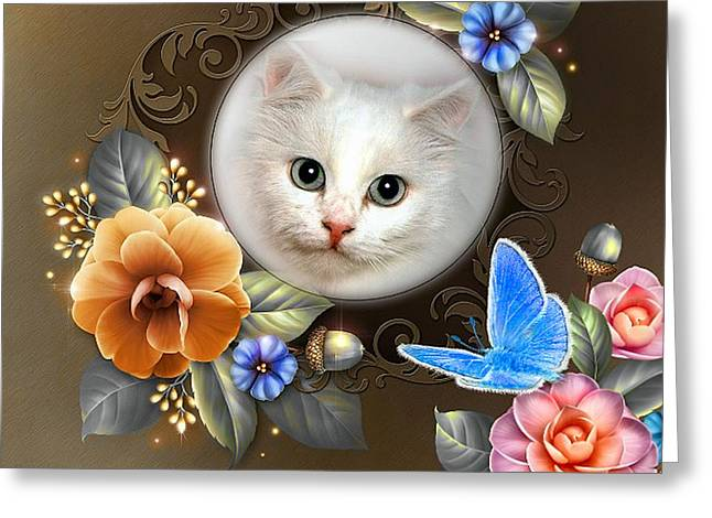 Bedroom Art Greeting Cards - Camellia Kitty Greeting Card by G Berry