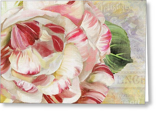 Stripes Greeting Cards - Camellia Greeting Card by Mindy Sommers