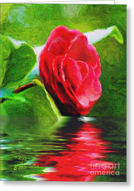Reflecting Water Greeting Cards - Camellia Reflections Greeting Card by Kat Solinsky