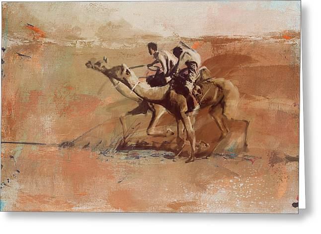 Camels And Desert 11 Greeting Card by Mahnoor shah