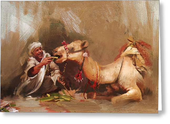 Aladdin Greeting Cards - Camels and Desert 13 Greeting Card by Mahnoor Shah