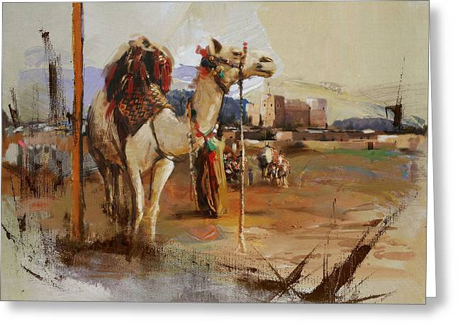 Aladdin Greeting Cards - Camels and Desert 25 Greeting Card by Mahnoor Shah
