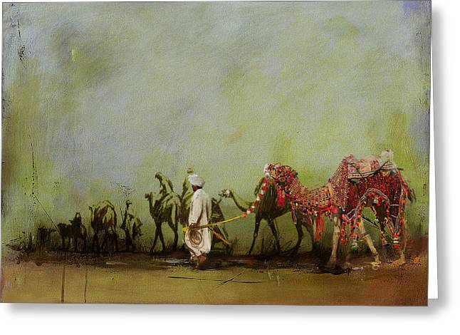 Aladdin Greeting Cards - Camels and Desert 3 Greeting Card by Mahnoor Shah