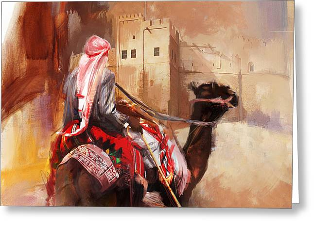 Aladdin Greeting Cards - Camels and Desert 32 Greeting Card by Mahnoor Shah