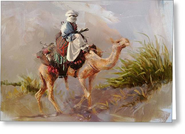 Aladdin Greeting Cards - Camels and Desert 6 Greeting Card by Mahnoor Shah