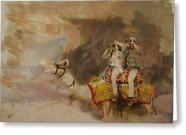Camels And Desert 9  Greeting Card by Mahnoor Shah