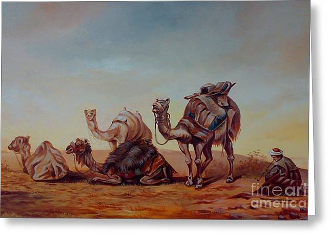 Worldwide Art Gallery Greeting Cards - Camels Greeting Card by Shanju Azhikode