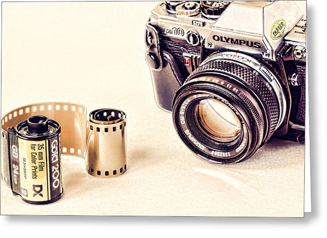 Camera And Film Greeting Card by Vicki McLead