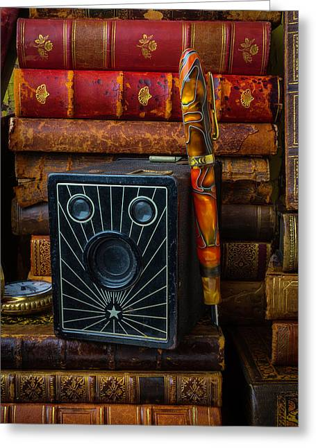 Camera And Old Books Greeting Card by Garry Gay