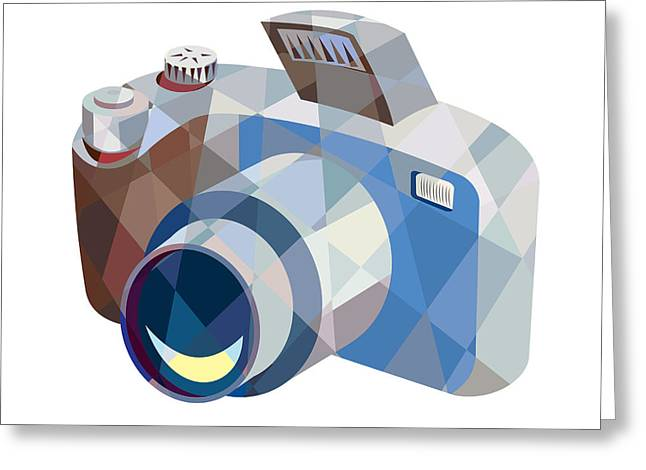 Dslr Greeting Cards - Camera DSLR Low Polygon Greeting Card by Aloysius Patrimonio