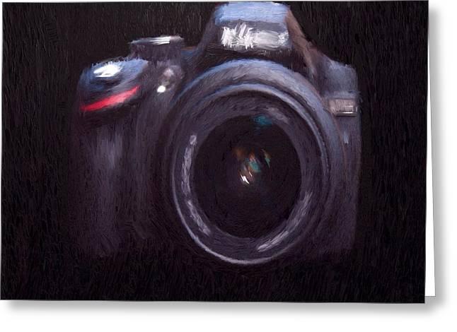 Lens Mixed Media Greeting Cards - Camera Greeting Card by Mark Taylor
