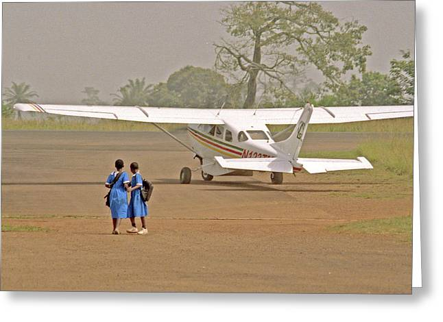 Airstrip Greeting Cards - Cameroon Airstrip Greeting Card by Michael Peychich