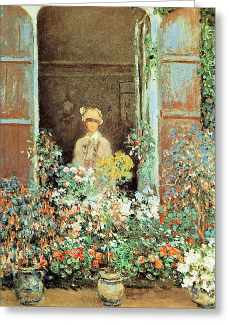Sun Hat Greeting Cards - Camille at the Window Greeting Card by Claude Monet