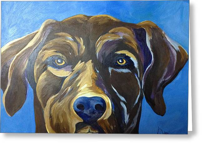 Chocolate Lab Greeting Cards - Camo Greeting Card by Karen Dukes