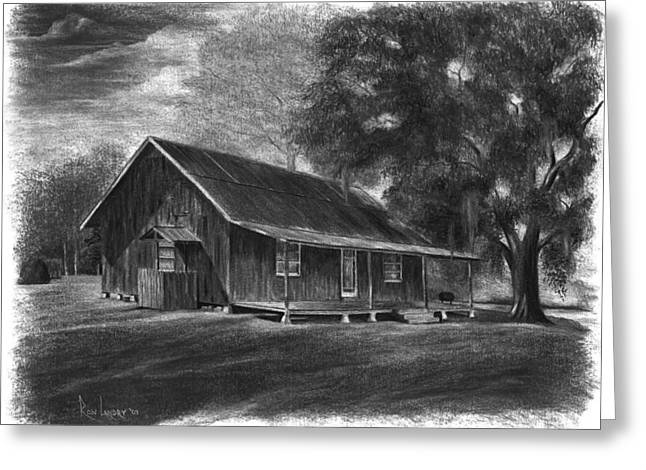 Cajun Drawings Greeting Cards - Camp Emile Greeting Card by Ron Landry