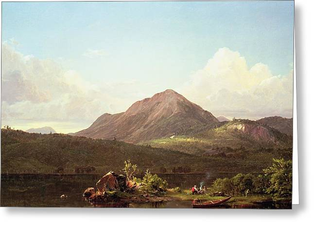 Camp Fire in the Maine Wilderness Greeting Card by Frederic Edwin Church